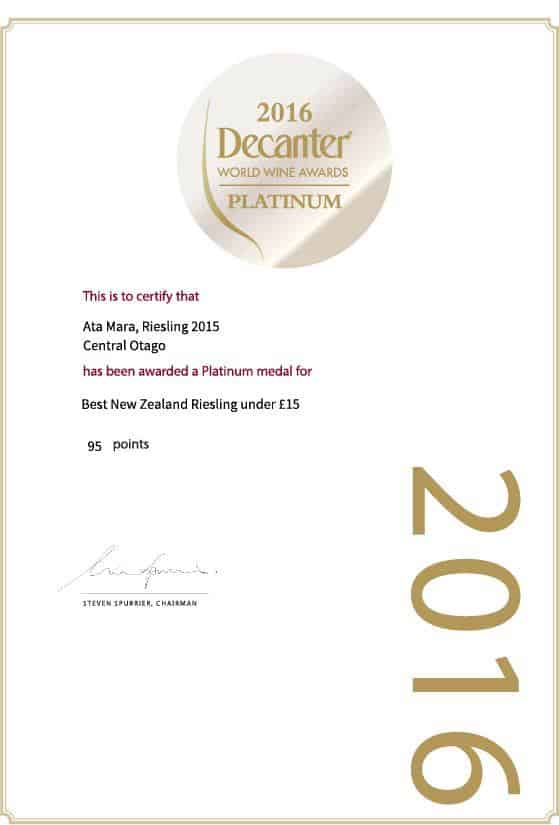 Decanter 2016 Platinum Award