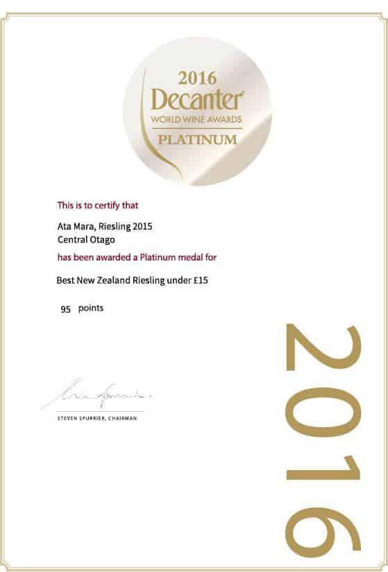 Decanter 2016 Platinum Award